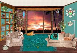 100 livingroom cartoon living room cozy interior colorful