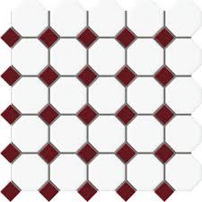 beltile octagon and dot porcelain mosaic with burgundy dot 2 1 4