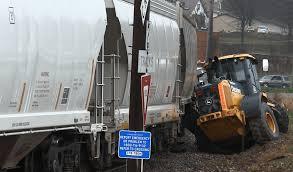 watch train hits city owned heavy equipment ottumwa radio