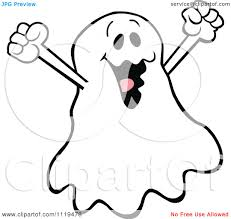 cartoon of a halloween ghost cheering royalty free vector