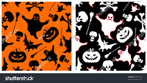 Halloween Skeleton Pattern by Two Halloween Seamless Patterns Pumpkin Witches Stock Vector