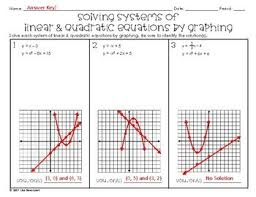 systems of linear u0026 quadratic equations by graphing practice