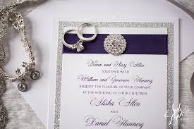 Purple And Silver Wedding Invitations Alisha Dan U0027s Elegant Purple Foil And Silver Glitter Wedding