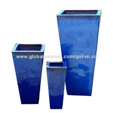 glazed ceramic pots outdoor glazed planter set 3 tall tapered square planters