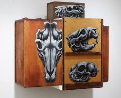 mixed media cabinets of painted animals that reveal their anatomy