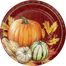 8 x thanksgiving harvest paper plates pumpkin leaves thanksgiving