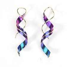 computergear niobium earrings element spiral twist