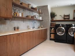 Modern Laundry Room Decor Bathroom Laundry Cabinets And Floating Shelves With Tile
