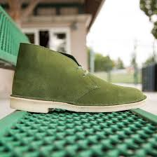 clarks men desert boot suede green leaf
