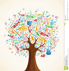 abstract musical tree made with instruments royalty free stock