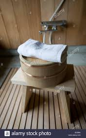 Bathroom Wooden Stool Detail Of Typical Wooden Stool Basin And Towel Inside Bathroom Of