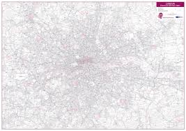 London Zip Code Map by London Postcode District Wall Map Within M25