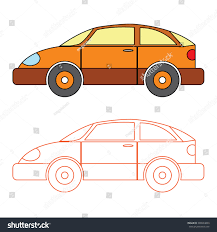 cartoon orange saloon car coloring book stock vector 338034839