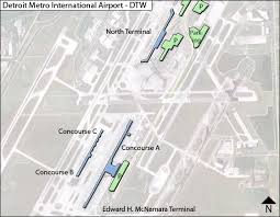 detroit metro airport map detroit metropolitian dtw airport terminal map
