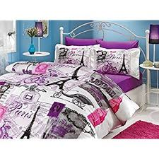 Duvet Cover Double Bed Size Amazon Com 100 Cotton 7pcs Paris In Autumn Full Double Size