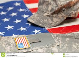 Us Military Flags Usa Flag With Us Military Uniform Over It Studio Shot Stock