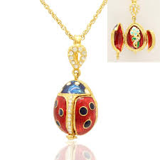 lady bird necklace images Wholesale three opened ladybug handmade enamel color ladybird jpg