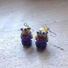 minion earrings earrings minion drops valentines gift party handmade
