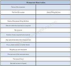 Restaurant Reservation Sheet Template Reservation Form 7 Sle Tour Reservation Forms Sle Tour