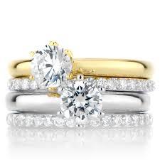 wedding ring sets wedding ring set silvertone