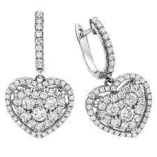 heart shaped diamond earrings heart shaped diamond gold illusion earrings at 1stdibs