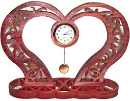 decorative clock swirling hearts clock unique clock scroll saw clock desk