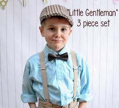 boy s vintage wedding 3 set brown tweed newsboy hat plus