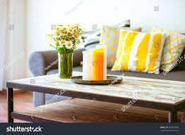 Home Decor Table Modern Wooden Coffee Table Cozy Sofa Stock Photo 289819505
