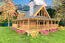Wrap Around Porch by Mountain Crest Log Home Custom Timber Log Homes