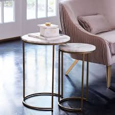Occasional Table And Chairs Round Nesting Side Tables Set Marble Antique Brass West Elm
