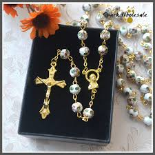 wedding rosary gift box religious gold white cloisonne rosary necklace jesus