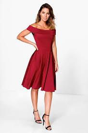 molly off the shoulder midi dress boohoo
