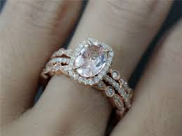 wedding ring set for 3 rings set of 6x8 oval morganite diamond wedding ring and 2 bezel