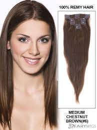 Human Hair Extensions With Clips by Sweet Medium Chestnut Brown Body Wave Clip In Indian Remy Human