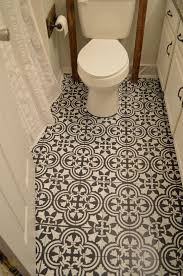 bathroom stencil ideas this chalk paint and stenciling on a linoleum bathroom