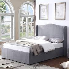 king size ottoman bed frame grade a1 safina wing back king size ottoman bed in grey velvet