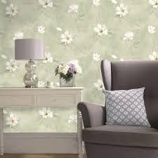 cream green floral wallpaper diy