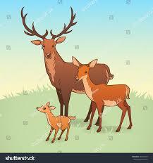 deer family deer doe fawn vector stock vector 246939439