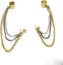 cuff earrings with chain flipkart buy trinketbag multi chain alloy cuff earring