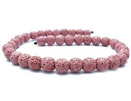 pink coloured beads necklace images Smooth lava stone loose beads coloured round lava jpg