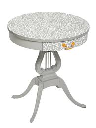 round oak end table furniture stenciled old orange oak table grey pattern stenciled