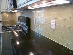 vibrant kitchen glass subway tile backsplash kitchen and decoration
