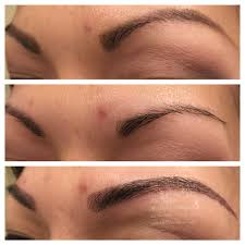 client own drawing before and after microblading which is a