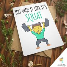 squat pun card boy man squat love fitness muscle by ecolorty paper