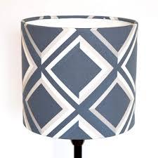 designer lampshades blue lattice geometric print surface house
