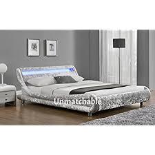 led velvet curved bed frame in silver or black velvet multiple