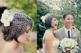 looking unique with short wedding hairstyles with birdcage veil
