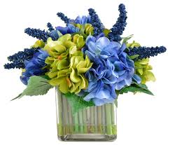 Silk Flower Arrangements Hydrangea Arrangement In Square Vase Contemporary Artificial