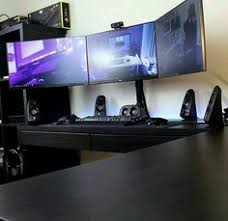 Gaming Desk Setup by Ikea Gaming Computer Desk Setup With Drawer Also Triple Monitors