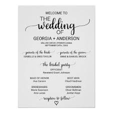 black and white wedding programs simple black and white calligraphy wedding program poster zazzle